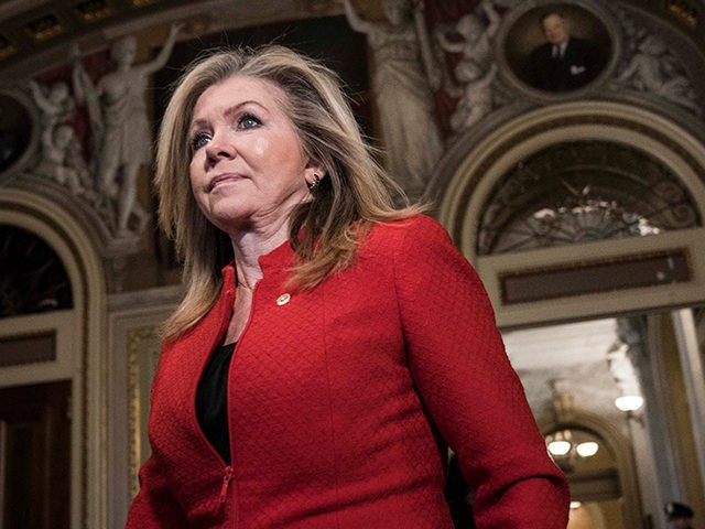 WASHINGTON, DC - JANUARY 30: Senator Marsha Blackburn (R-TN) walks in the U.S. Capitol during a break on the second day that Senators have the opportunity to ask questions during impeachment proceedings against U.S. President Donald Trump on January 30, 2020 in Washington, DC. (Photo by Sarah Silbiger/Getty Images)