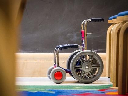 Child's wheelchair in a children's hospital.