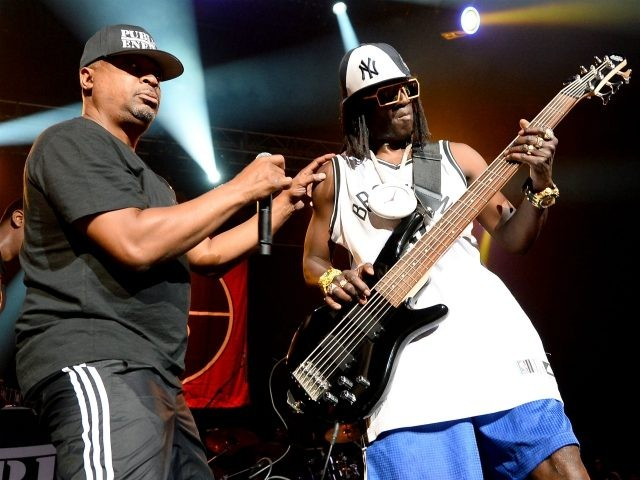 LAS VEGAS, NV - JUNE 06: Rappers Chuck D (L) and Flavor Flav of Public Enemy perform at The Joint inside the Hard Rock Hotel & Casino on June 6, 2015 in Las Vegas, Nevada. (Photo by Ethan Miller/Getty Images)