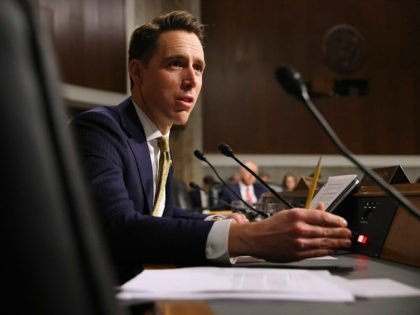 WASHINGTON, DC - DECEMBER 03: Senate Armed Services Committee member Sen. Josh Hawley (R-OM) questions witnesses during a hearing in the Dirksen Senate Office Building on Capitol Hill December 03, 2019 in Washington, DC. Military secretaries and members of the Joint Chiefs testified about a new GAO report about ongoing …