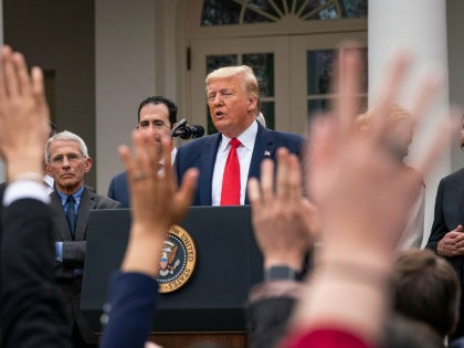 WASHINGTON, DC - MARCH 13: U.S. President Donald Trump takes questions a news conference about the ongoing global coronavirus pandemic at the White House March 13, 2020 in Washington, DC. Trump is facing a national health emergency as COVID-19 cases continue to rise and 30 people have died from the …