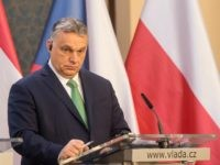 Hungary's Prime Minister Viktor Orban gives a joint press conference with Czech Republic's Prime Minister, Poland's Prime Minister and Slovakia's Prime Minister after a meeting of representatives of the Visegrad Group (V4), focusing on measures in response to the new coronavirus COVID-19, on March 4, 2020 in Prague. (Photo by …