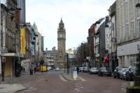Deserted streets due to the coronavirus restrictions in Belfast city centre, Northern Ireland, Monday, March, 30, 2020. The new coronavirus causes mild or moderate symptoms for most people, but for some, especially older adults and people with existing health problems, it can cause more severe illness of death. (AP Photo/Peter …
