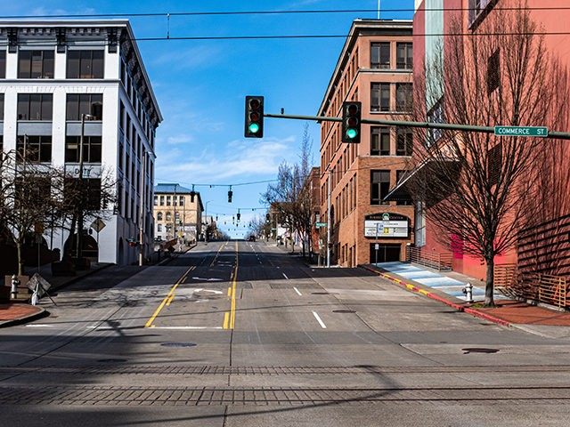 Downtown Tacoma, Washington; Mid-day March 15th, 2020 During the Cornovirus Covid-19 Outbreak.