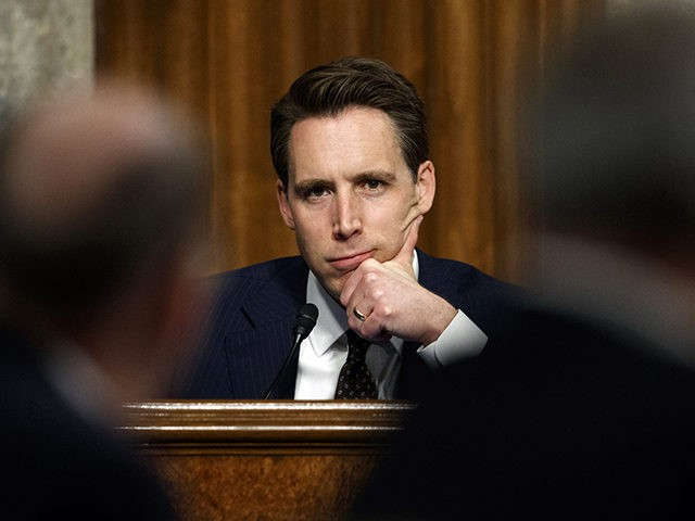 "Senate Armed Services Committee member Sen. Josh Hawley, R-Mo., pauses during a Senate Armed Services Committee hearing on ""Nuclear Policy and Posture"" on Capitol Hill in Washington, Thursday, Feb. 29, 2019. (AP Photo/Carolyn Kaster)"