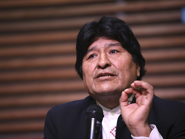 Bolivia's former President Evo Morales gives a press conference regarding the rejection of his plan to run for Senator in Buenos Aires, where he is living, in Argentina, Friday, Feb. 21, 2020. Bolivia's Supreme Electoral Tribunal on Thursday rejected Morales' candidacy for a Senate seat in May's national elections because …