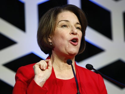 Democratic presidential candidate Sen. Amy Klobuchar, D-Minn., speaks at the North Carolina Democratic Party's Blue NC Celebration, Saturday, Feb. 29, 2020, in Charlotte, N.C. (AP Photo/Patrick Semansky)