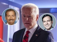 (Insets: Jake Tapper, Chuck Todd) Former Vice President Joe Biden, center, stops to talk with CNN anchor Dana Bash, left, as Sen. Bernie Sanders, I-Vt., right, waves after they participated in a Democratic presidential primary debate at CNN Studios in Washington, Sunday, March 15, 2020. (AP Photo/Evan Vucci)