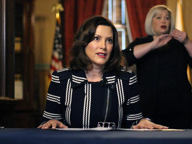 In this photo provided by the Michigan Office of the Governor, Michigan Gov. Gretchen Whitmer addresses the state during a speech in Lansing, Mich., Thursday, April 2, 2020. The governor ordered that students in the state will not return to K-12 school buildings the rest of the academic year due …
