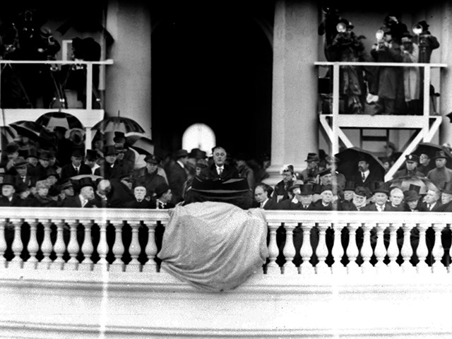 President Franklin D. Roosevelt speaks during his rainy second inaugural ceremony in Washington, Jan. 20, 1937. (AP Photo)