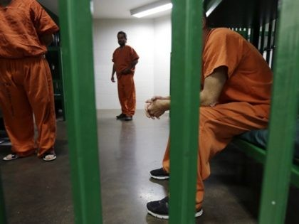 Inmates are seen in an acute unit of the mental heath unit at the Harris County jail, Friday, Aug. 15, 2014, in Houston. (AP Photo/Eric Gay)