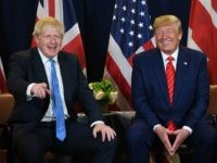 US President Donald Trump and British Prime Minister Boris Johnson hold a meeting at UN Headquarters in New York, September 24, 2019, on the sidelines of the United Nations General Assembly. (Photo by SAUL LOEB / AFP) (Photo credit should read SAUL LOEB/AFP via Getty Images)