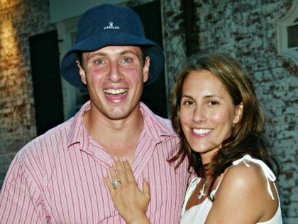 """EAST HAMPTON, NY - JULY 26: Chris Cuomo and his wife Cristina Greeven Cuomo attend a special screening of """"Ashtanga, NY"""" as part of The Young Patrons of Guild Hall and Piaget's Third Annual East Hampton Benefit at Guild Hall July 26, 2003 in East Hampton, New York. (Photo by …"""