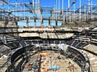 Construction, as of late February, at SoFi Stadium. (Photo: Greg Beacham, AP)