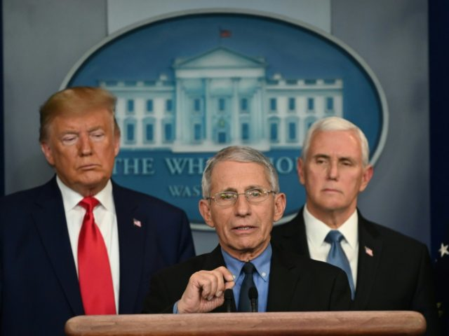 Director of the National Institute of Allergy and Infectious Diseases at the National Institutes of Health Anthony Fauci speaks during a press conference on the COVID-19, coronavirus, outbreak as US President Donald Trump (L) and US Vice President Mike Pence look on at the White House in Washington, DC on February …