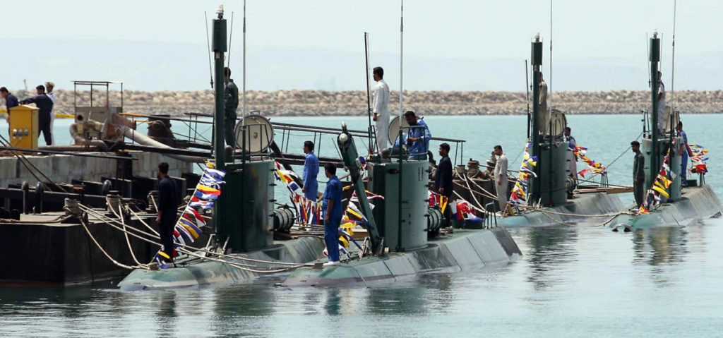 New Iranian Ghadir-class submarines are unveiled during a ceremony in the southern port city of Bandar Abbas on August 8, 2010. AFP PHOTO/VAHID REZA ALAEI (Photo credit should read VAHID REZA ALAEI/AFP via Getty Images)