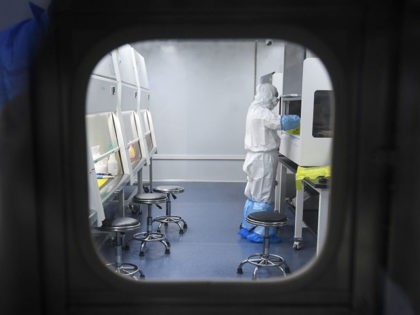 "This photo taken on February 6, 2020 shows a laboratory technician working on samples from people to be tested for the new coronavirus at ""Fire Eye"" laboratory in Wuhan in China's central Hubei province. - BGI Group, a genome sequencing company based in southern China, said it opened on February …"
