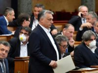 Hungarian Prime Minister Viktor Orban (C) walks near other representatives during a vote about the government's bill on the protection against the new coronavirus COVID-19 at the plenary session of the Hungarian Parliament in Budapest, Hungary on March 30, 2020. (Photo by Zoltan MATHE / POOL / AFP) (Photo by …