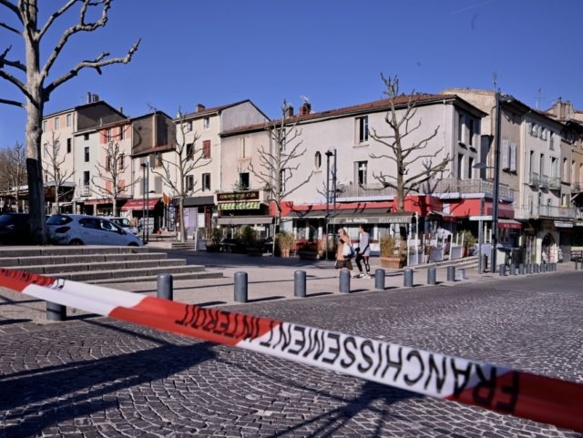 A picture taken on April 4, 2020 shows the city centre of Romans-sur-Isere, after a man attacked several people with a knife, killing two and injuring seven before being arrested, according to sources close to the investigation. (Photo by JEFF PACHOUD / AFP) (Photo by JEFF PACHOUD/AFP via Getty Images)