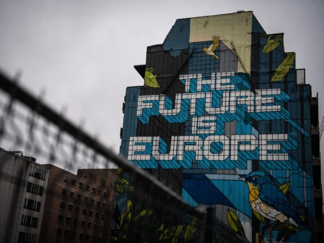 "BRUSSELS, BELGIUM - MARCH 02: ""The Future is Europe"" by Belgian artist NovaDead is seen near to the European Parliament on March 02, 2020 in Brussels, Belgium. The UK chief negotiator David Frost has met his EU counterpart Michel Barnier to begin formal negotiations of the future relationship between the …"