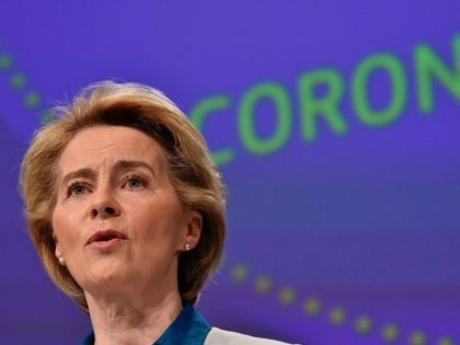 The President of European Commission Ursula von der Leyen holds a press conference on the European Union (EU) response to the COVID-19 crisis at the EU headquarters in Brussels on April 15, 2020. (Photo by JOHN THYS / POOL / AFP) (Photo by JOHN THYS/POOL/AFP via Getty Images)