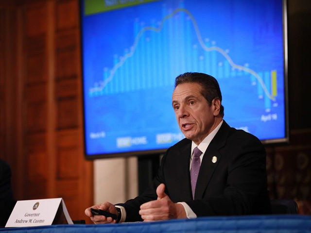 """ALBANY, NY - APRIL 17: New York Governor Andrew Cuomo gives his a press briefing about the coronavirus crisis on April 17, 2020 in Albany, New York.Cuomo along with governors from other East Coast states are extending their shutdown of nonessential businesses to May 15. """"We have to continue doing …"""