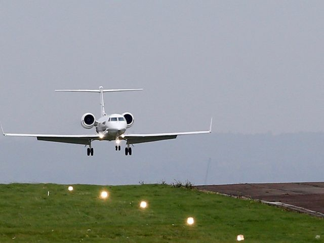 The private jet believed to be carrying Shaker Aamer, the last British resident in Guantanamo Bay, comes in to land at Biggin Hill Airport, in south east London on October 30, 2015. Shaker Aamer, arrived in London on Friday having earlier been freed from the US military prison in Cuba, …