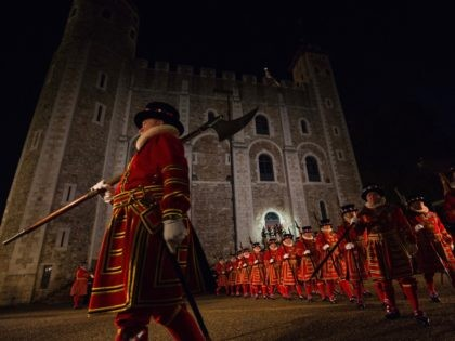 LONDON, ENGLAND - OCTOBER 05: Yeoman Warders 'Beefeaters', parade during the installation of General Sir Nicholas Houghton as the 160th Constable of the Tower of London during a ceremony in front of the White Tower at Tower of London on October 5, 2016 in London, England. The role of Constable, …