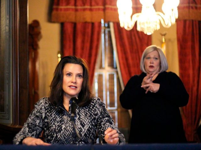 """This provided by the Michigan Office of the Governor, Michigan Gov. Gretchen Whitmer addresses the state during a speech in Lansing, Mich., Monday, April 13, 2020. The governor said the state has tough days ahead in its fight against the coronavirus pandemic, but a return to normalcy is """"on the …"""