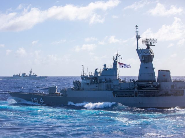 HMAS Parramatta and HMCS Ottawa during Exercise Pacific Vanguard 2019 for the East Asia Deployment.