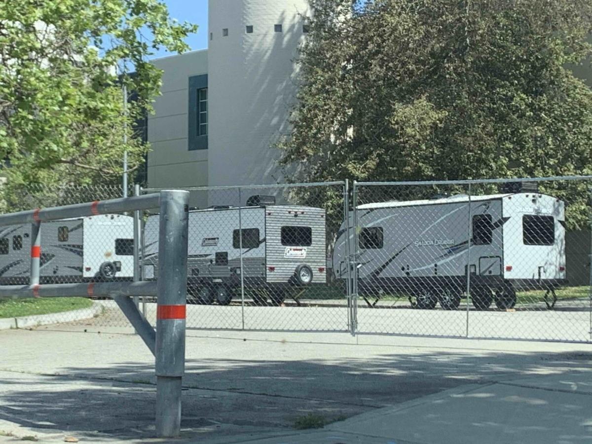 Homeless trailers Westwood recreation center (Joel Pollak / Breitbart News)