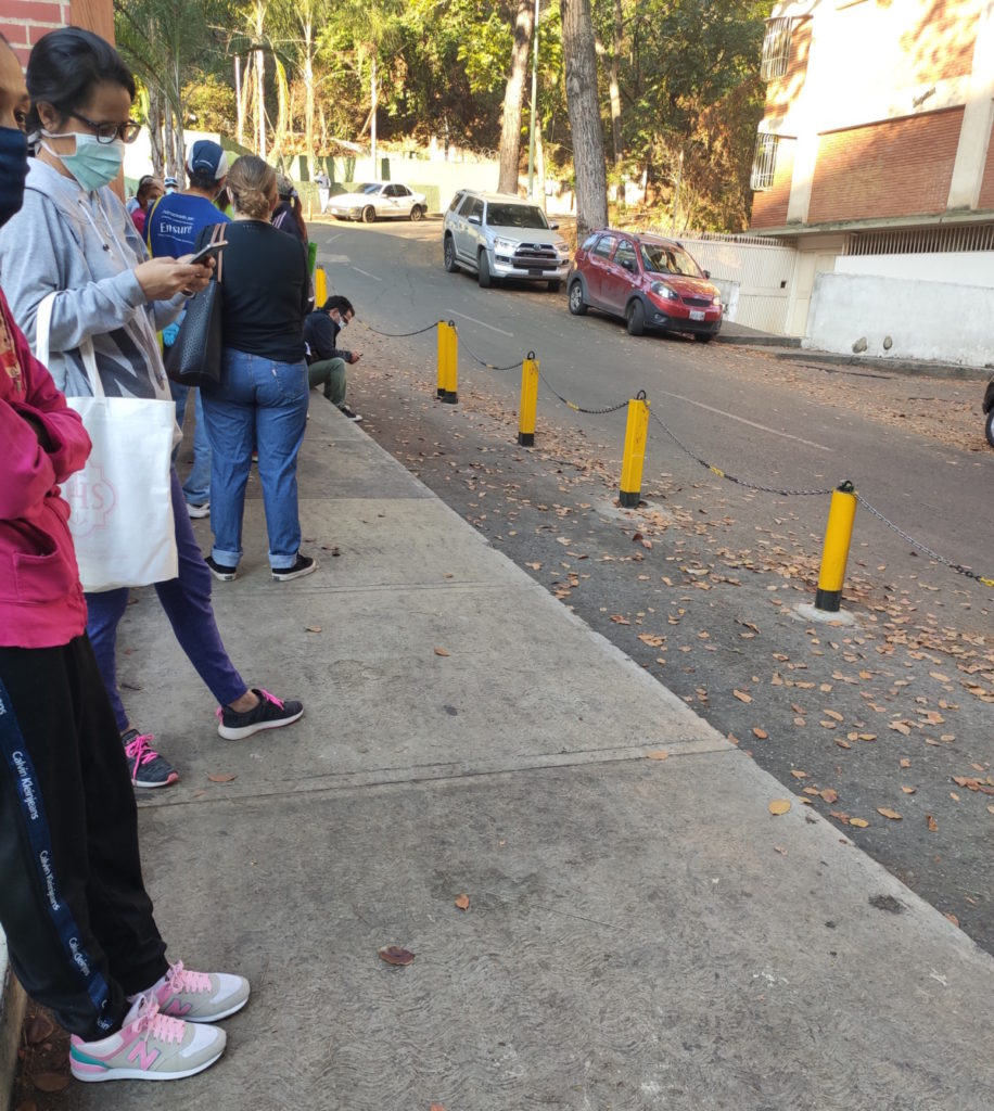 Waiting on a supermarket line in Caracas, Venezuela, during the coronavirus pandemic of 2020.