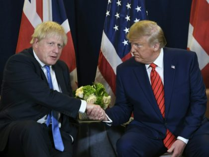 US President Donald Trump and British Prime Minister Boris Johnson hold a meeting at UN Headquarters in New York, September 24, 2019, on the sidelines of the United Nations General Assembly. (Photo by SAUL LOEB / AFP) (Photo by SAUL LOEB/AFP via Getty Images)