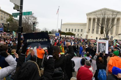 Anti-abortion advocates shout slogans while participating in the 47th annual March For Life in Washington, DC on January 24, 2020. - Activists gathered in the nation's capital for the annual event to mark the anniversary of the Supreme Court Roe v. Wade ruling that legalized abortion in 1973. (Photo by …