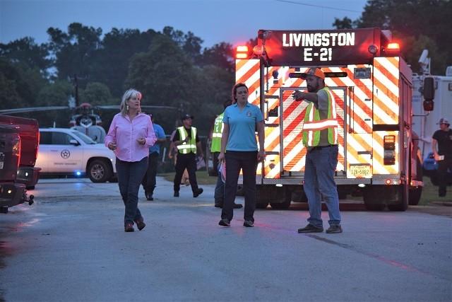 Polk County Judge Sydney Murphy arrives at the tornado emergency management headquarters. (Photo: Lana Shadwick/Breitbart Texas)