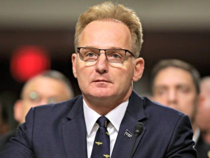 WASHINGTON, DC - DECEMBER 03: Acting Navy Secretary Thomas Modly testifies before the Senate Armed Services Committee in the Dirksen Senate Office Building on Capitol Hill December 03, 2019 in Washington, DC. Military secretaries and members of the Joint Chiefs testified about a new GAO report about ongoing reports of …