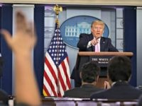 WASHINGTON, DC - APRIL 10: U.S. President Donald Trump takes questions during the daily briefing of the White House Coronavirus Task Force in the James Brady Briefing Room April 10, 2020 at the White House in Washington, DC. According to Johns Hopkins University, New York state has more confirmed coronavirus …