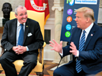 WASHINGTON, DC - APRIL 30: U.S. President Donald Trump meets with New Jersey Gov. Phil Murphy (L) in the Oval Office of the White House April 30, 2020 in Washington, DC. New Jersey, like many states, is seeking assistance from the federal government for the health and economic crisis caused …