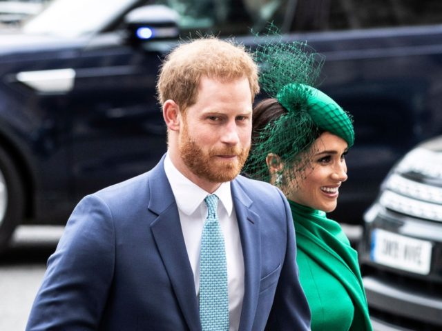 Britain's Prince Harry and Meghan Duchess of Sussex arrive to attend the annual Commonwealth Service at Westminster Abbey in London Monday March 9, 2020. Britain's Queen Elizabeth II and other members of the royal family along with various government leaders and guests are attending the annual Commonwealth Day service, the …