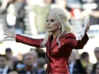 Lady Gaga sings the national anthem before the NFL Super Bowl 50 football game between the Denver Broncos and the Carolina Panthers Sunday, Feb. 7, 2016, in Santa Clara, Calif. (AP Photo/Marcio Jose Sanchez)