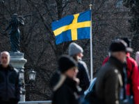 The Swedish flag is pictured on April 4, 2020 in Stockholm during the the new coronavirus COVID-19 pamdemic. (Photo by Jonathan NACKSTRAND / AFP) (Photo by JONATHAN NACKSTRAND/AFP via Getty Images)