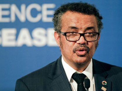 World Health Organization President Tedros Adhanom speaks to the press during the World Health Organization conference on noncommunicable diseases in Montevideo, Uruguay, Wednesday, Oct. 18, 2017. (AP Photo/Matilde Campodonico)