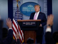 President Donald Trump answers questions during a coronavirus task force briefing at the White House, Friday, April 10, 2020, in Washington. (AP Photo/Evan Vucci)