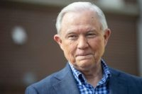 In this March 3, 2020, file photo Jeff Sessions talks with the media after voting in Alabama's primary election in Mobile, Ala. President Donald Trump's campaign sent a letter demanding his former attorney general Sessions stop tying himself to Trump in campaign materials. The letter by The March 31 letter …