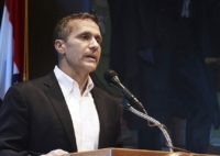 In this May 29, 2018, file photo, Missouri Gov. Eric Greitens announces his resignation during a news conference in Jefferson City. Greitens has re-emerged in public in recent months, leading to speculation that he might be open to running for office again. The Republican resigned as governor in June 2018 …