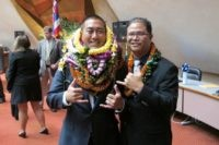"""In this May 5, 2016 file photo, former Hawaii Rep. Derek Kawakami, left, and Rep. James Tokioka, right, both of Kauai, pose for photos in Honolulu. Kawakami has a choice word for a Florida man accused of trying to flout Hawaii's traveler quarantine: """"covidiot."""" He isn't taking credit for coining …"""