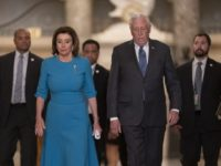 In this March 13, 2020, file photo Speaker of the House Nancy Pelosi, D-Calif., and Majority Leader Steny Hoyer, D-Md., arrive to make a statement ahead of a planned late-night vote on the coronavirus aid package deal, at the Capitol in Washington. Democrats are wrestling over how best to assail …