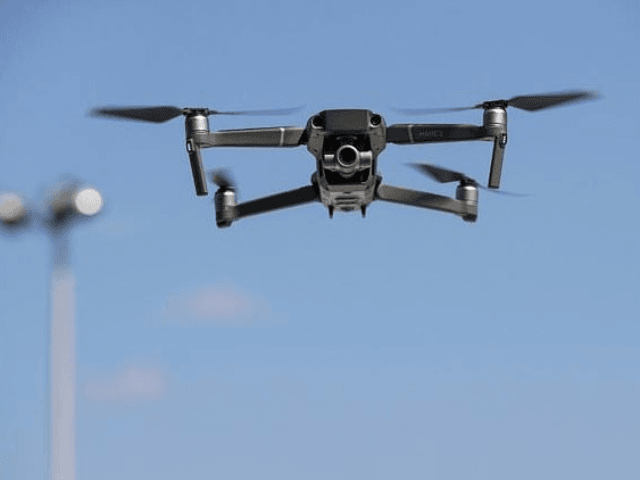 A Chinese-made DJI Mavic Zoom drone flies during a product launch in New York in 2018. Washington has warned Chinese-made drones could be giving Beijing's spy agencies unfettered access to sensitive material