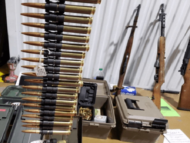 Imperial County Sheriff's Office investigators and El Centro Sector Border Patrol agents seized a cache of stolen firearms and ammunition in Calexico, California. (Photo: U.S. Border Patrol/El Centro Sector)