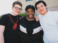 Rachael Folds with two of her adopted sons, Jacobi (L) and Brysen